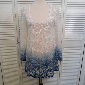 Asos ombre lace sheer top blouse sz 2 *D